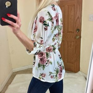 Tops - CHIC LONG SLEEVE WHITE FLORAL BLOUSE